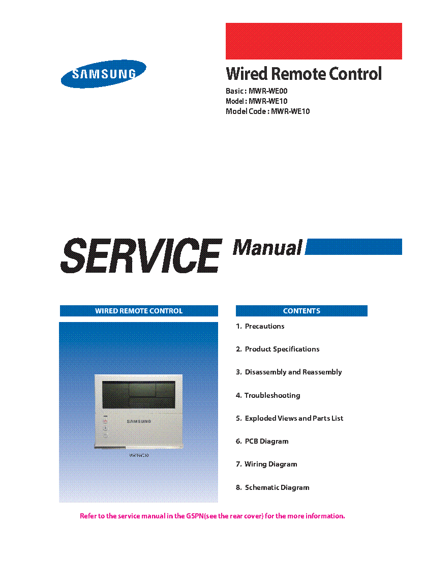 Samsung Mwr We00 We10 Wired Remote Control Service Manual Understanding Pneumatic Schematics Free Download Wiring Diagram 1st Page