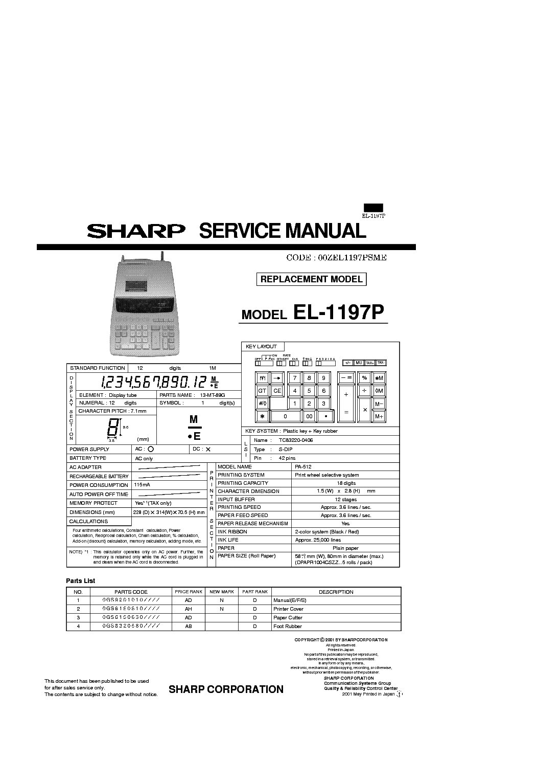 sharp el 1197p service manual download schematics eeprom repair rh elektrotanya com sharp el 1197piii manual Sharp Advanced Dal El 506X