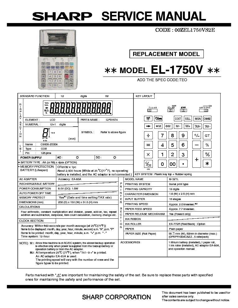 sharp pg d2510x service manual download schematics eeprom repair rh elektrotanya com manual da calculadora sharp el 1750v em portugues Sharp EL 1611P