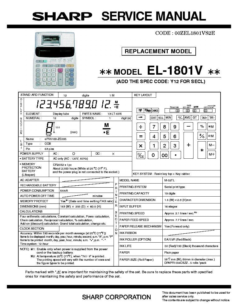 sharp el 1801v service manual download schematics eeprom repair rh elektrotanya com Sharp EL 1801V Ink Sharp EL 1801V Error Message
