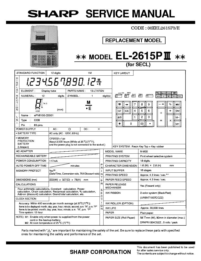 sharp el 2615piii service manual download schematics eeprom rh elektrotanya com sharp el-1750v manual pdf sharp el-1750p manual