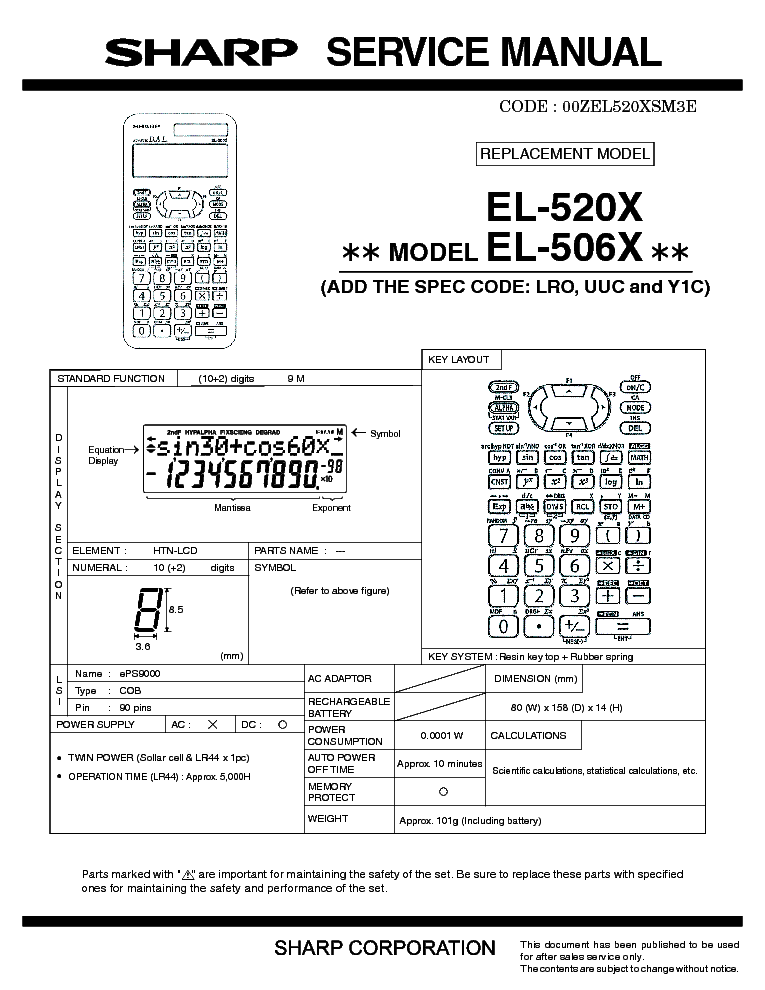 SHARP EL-520X EL-506X service manual