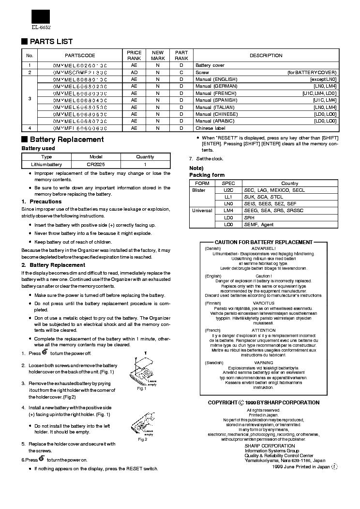 SHARP EL-6052 Service Manual download, schematics, eeprom, repair