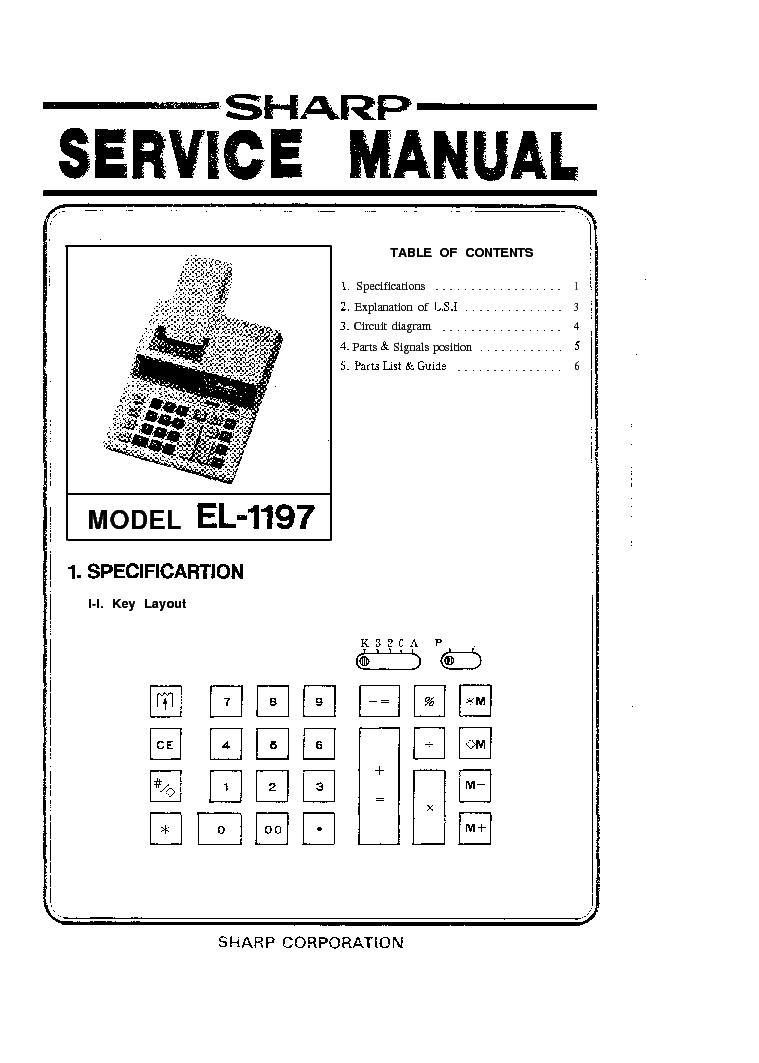 sharp el1197 calculator sm service manual download schematics rh elektrotanya com Sharp ManualsOnline Microwave Oven Sharp R 308J