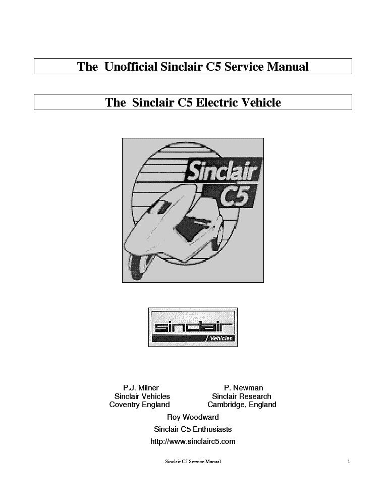 sinclair c5 electric vehicle sm service manual download schematics rh elektrotanya com reva electric car service manual electric car service manual pdf