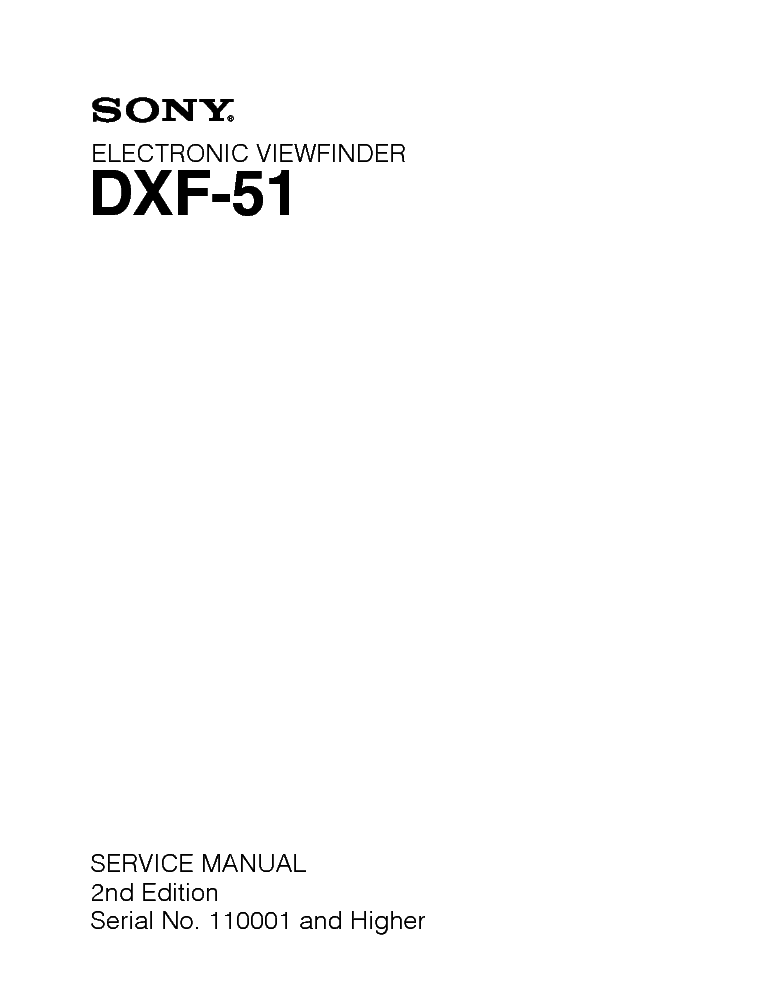 SONY DXF-51 service manual (1st page)