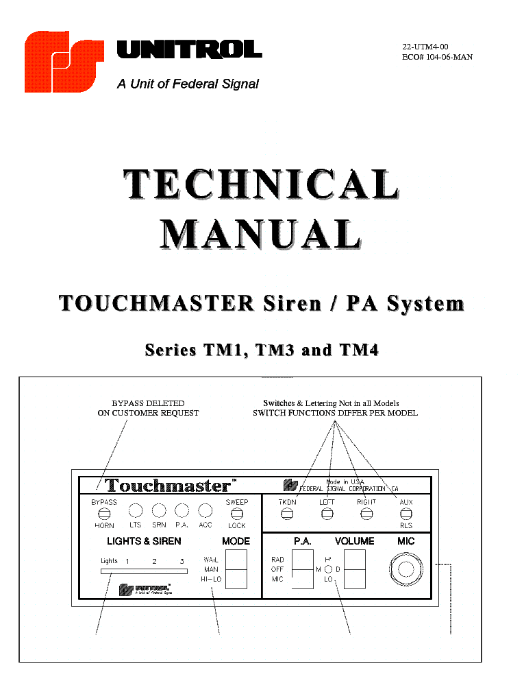 UNITROL TOUCHMASTER SIREN PA SYSTEM TM1 TM2 TM3 TM4 TECHNICAL MANUAL on series and parallel circuits diagrams, honda motorcycle repair diagrams, motor diagrams, gmc fuse box diagrams, troubleshooting diagrams, pinout diagrams, friendship bracelet diagrams, switch diagrams, lighting diagrams, electronic circuit diagrams, electrical diagrams, hvac diagrams, transformer diagrams, smart car diagrams, battery diagrams, internet of things diagrams, led circuit diagrams, sincgars radio configurations diagrams, engine diagrams,
