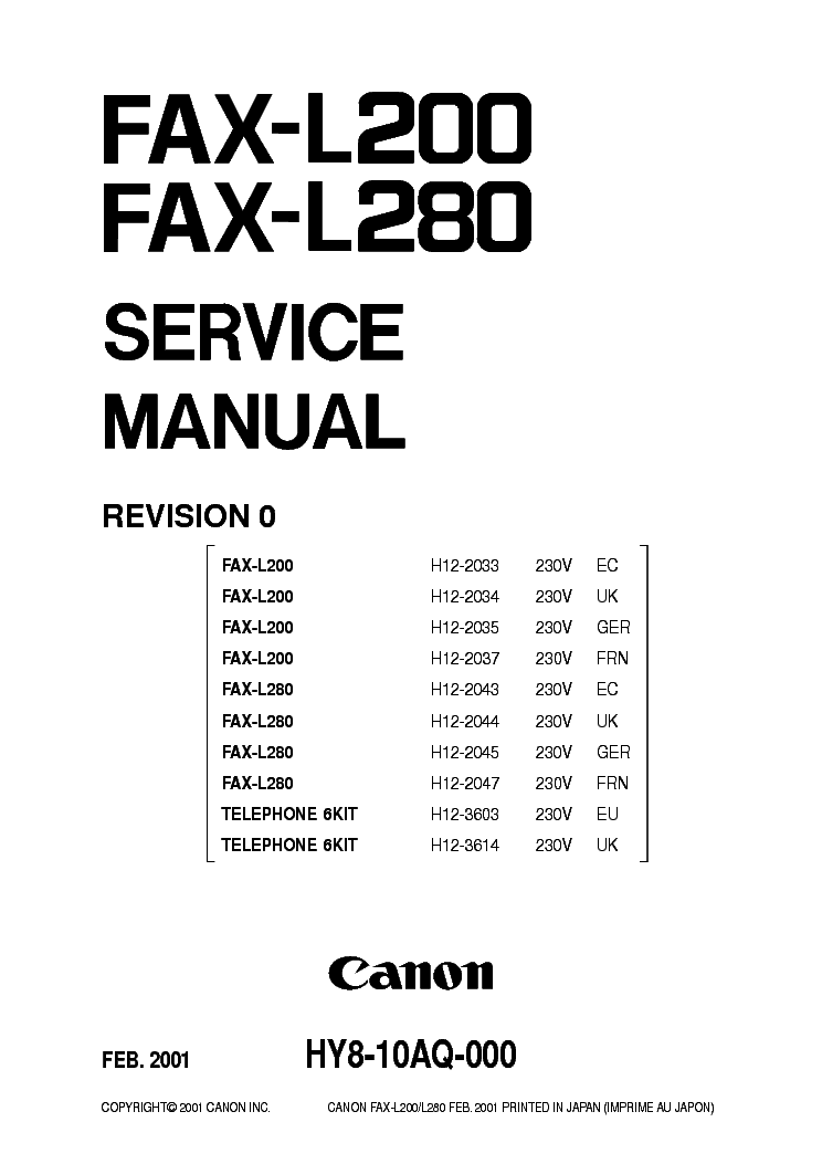 CANON FAX L280 DRIVERS FOR PC