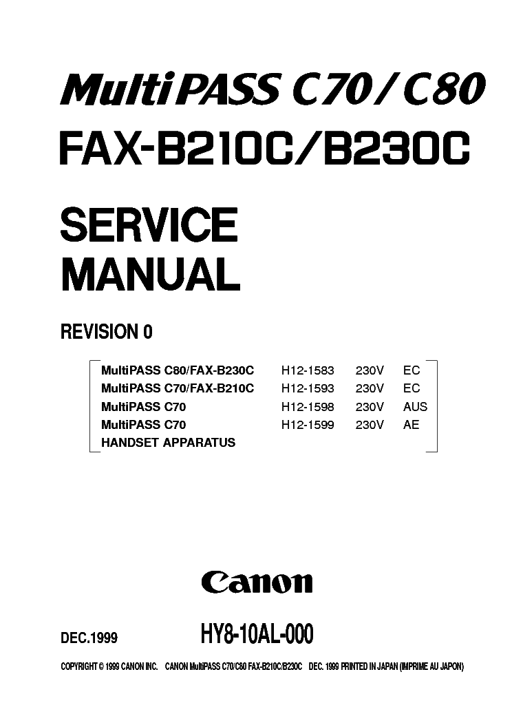 Canon FAX-B210C FAX Printer Driver Download