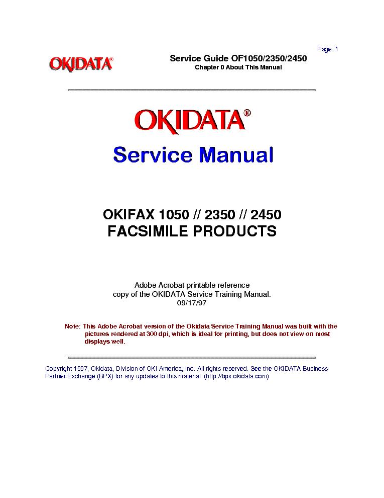 OKIDATA OKIFAX-1050 2350 2450 SM Service Manual free download ...
