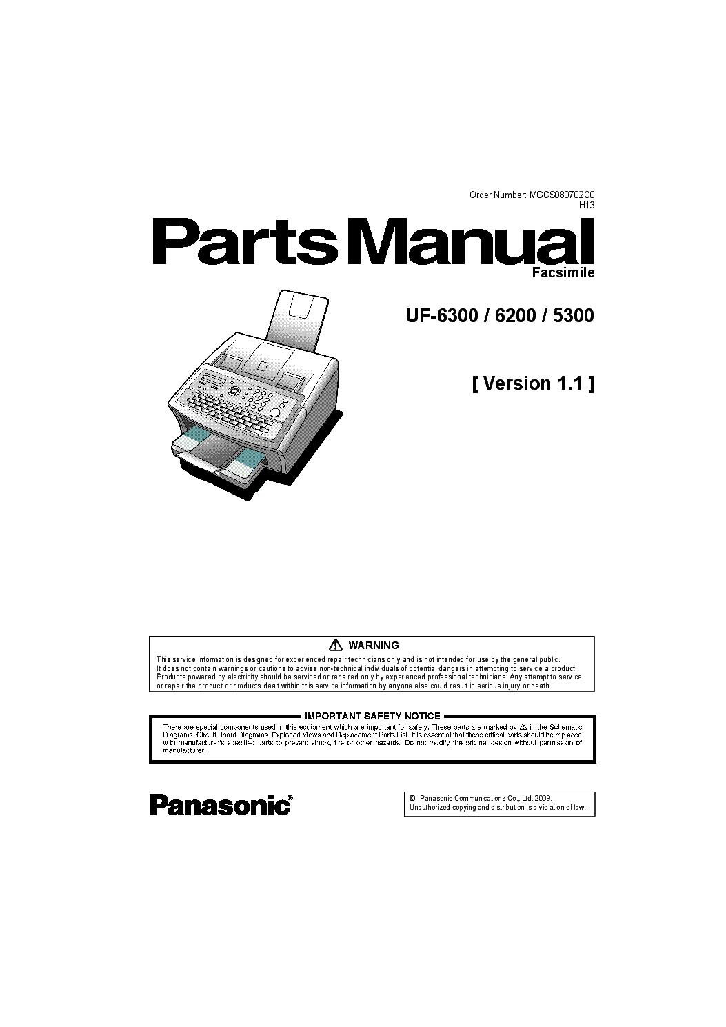 Service manual panasonic uf-5300, uf-6200, uf-6300 ― manual-shop. Ru.