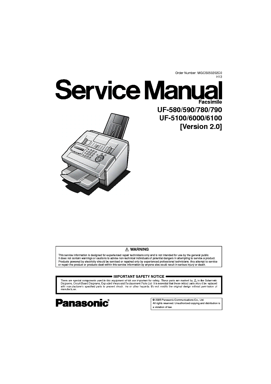 PANASONIC UF5100 6000 6100 VER2.0 service manual (1st page)
