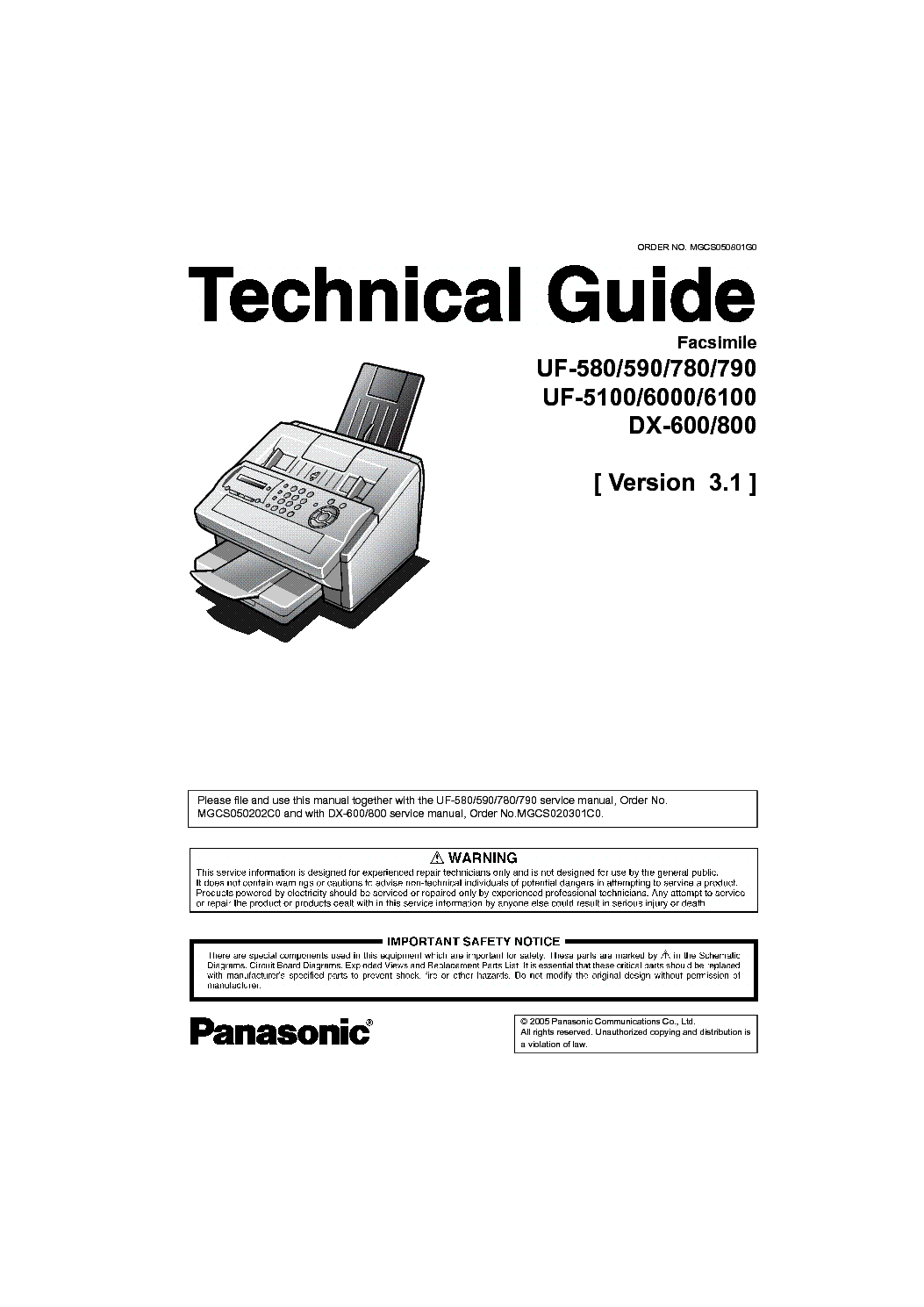 PANASONIC UF5100 6000 6100 VER3.1 service manual (1st page)