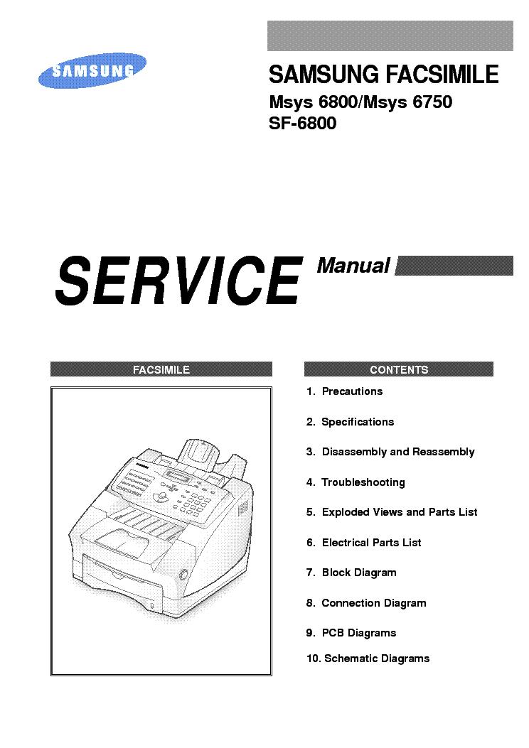 samsung facsimile msys 6800 msys 6750 sf 6800 service repair manual