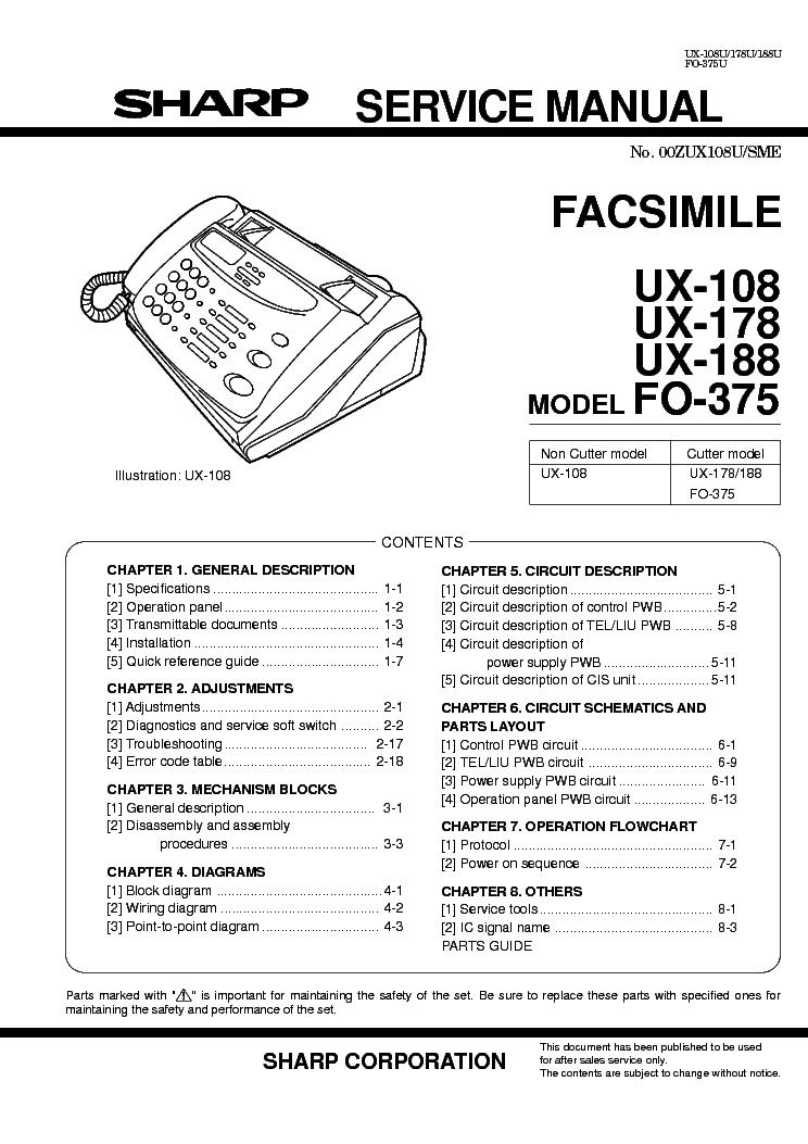 Manual fax sharp ux-108   fax   telephone call.