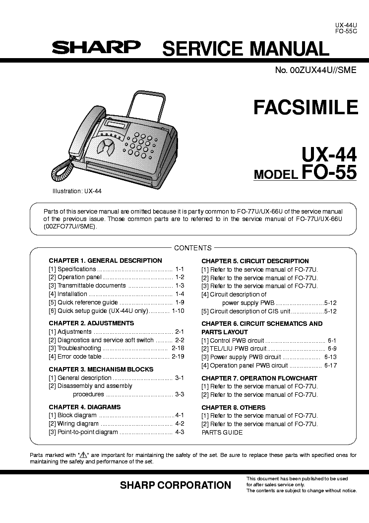 Факс sharp fo 55 инструкция