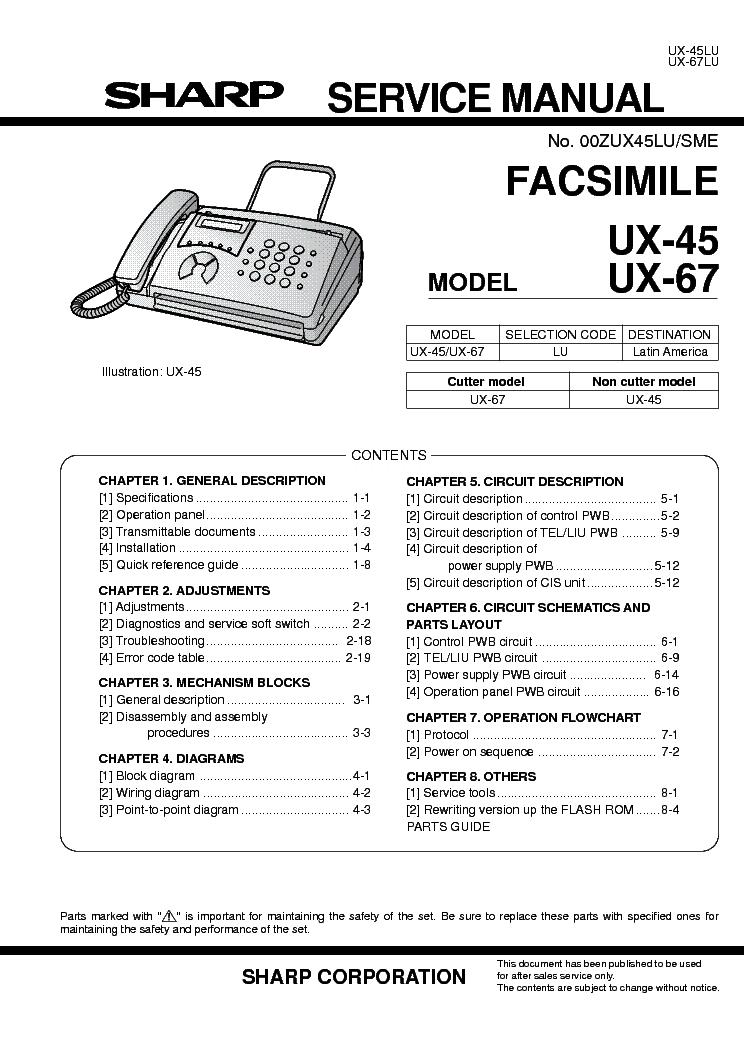 sharp ux 45 ux 67 service manual download schematics eeprom rh elektrotanya com Sharp Fax Toner sharp user manual tv