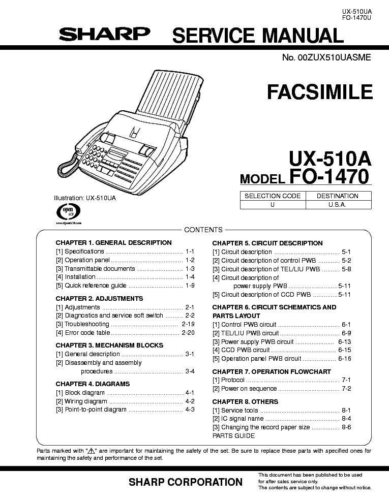 Инструкция к факсу sharp ux-51