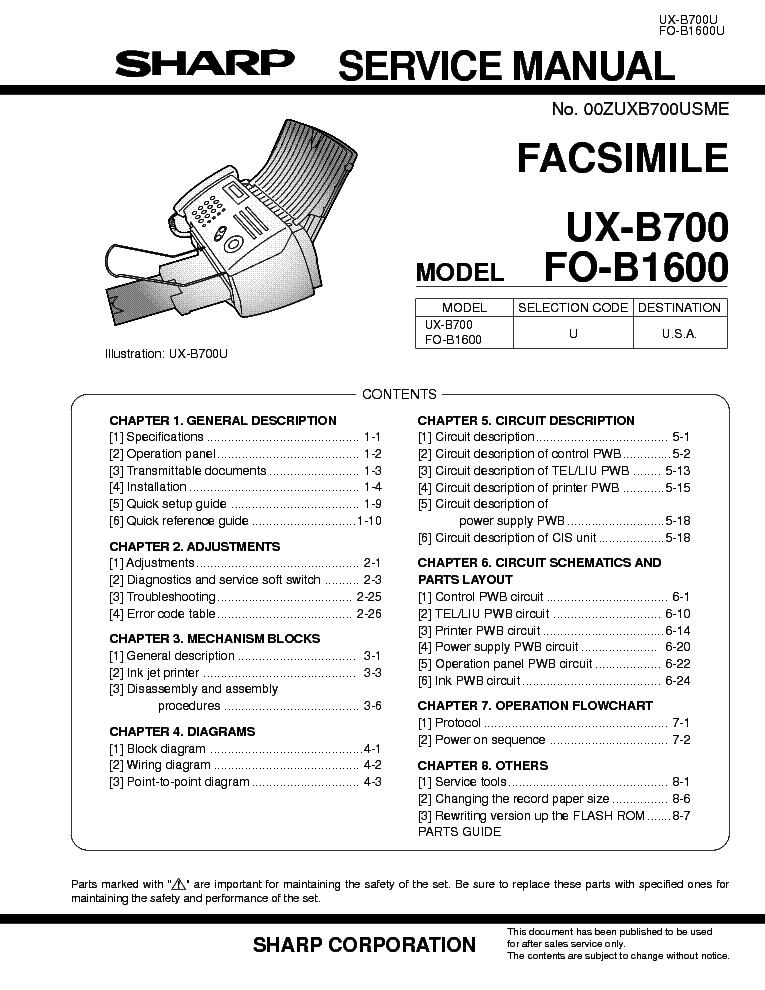 Sharp ux-b700 manual.