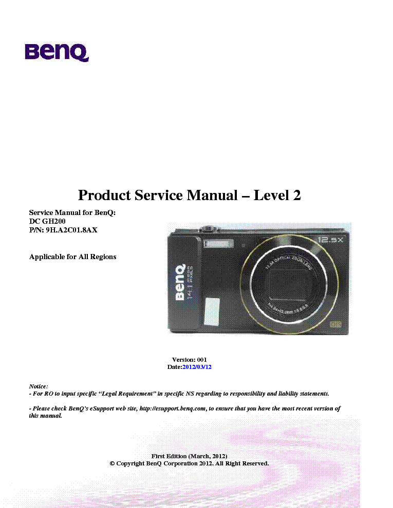 benq dc gh200 ver 001 level2 camera service manual download rh elektrotanya com BenQ Digital Camera Malaysia Panasonic Digital Camera