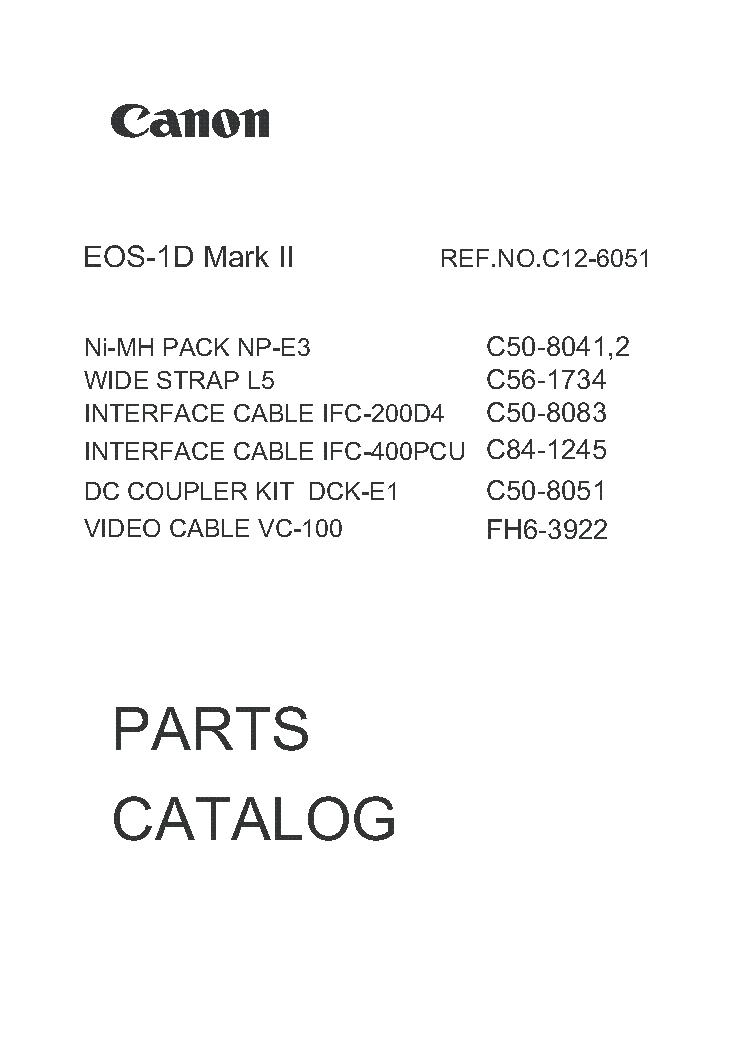 CANON EOS-1D MARK II PARTS Service Manual download, schematics