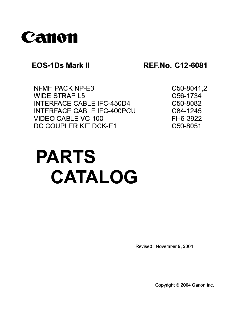 CANON EOS-1DS MARK II PARTS service manual (1st page)