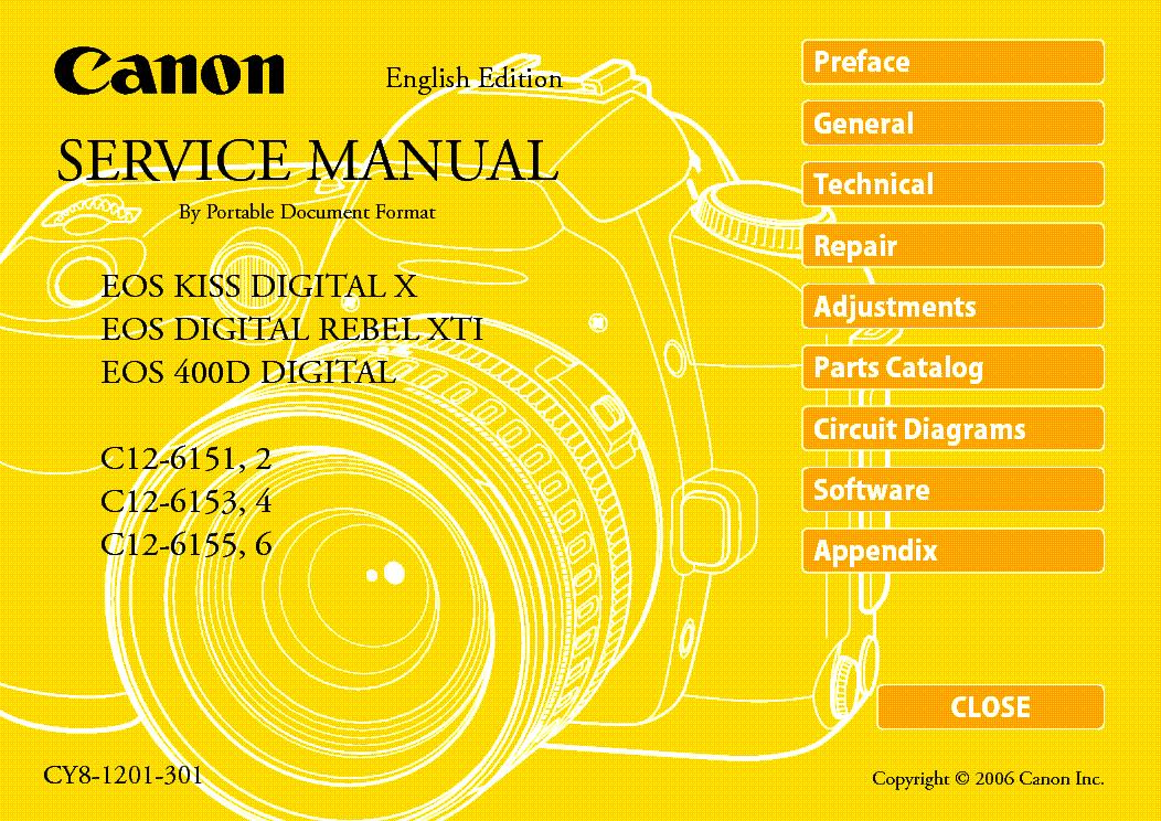 canon eos 400d eos kiss digital x rebel xti sm service manual rh elektrotanya com Rebel XSi Canon EOS Digital Rebel