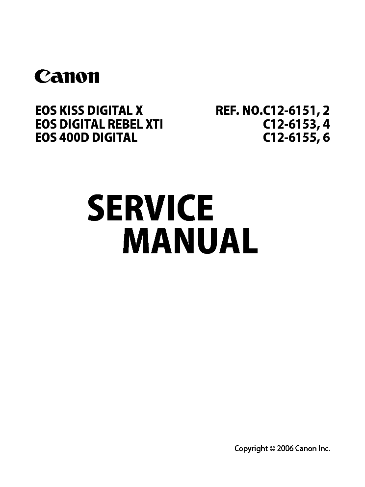 Canon Eos 400d Eos Kiss Digital X Rebel Xti Sm Service Manual Download Schematics Eeprom Repair Info For Electronics Experts