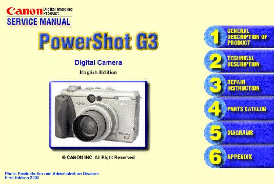 canon powershot g3 service manual download schematics eeprom rh elektrotanya com PowerShot G3 Charger PowerShot G3 Box