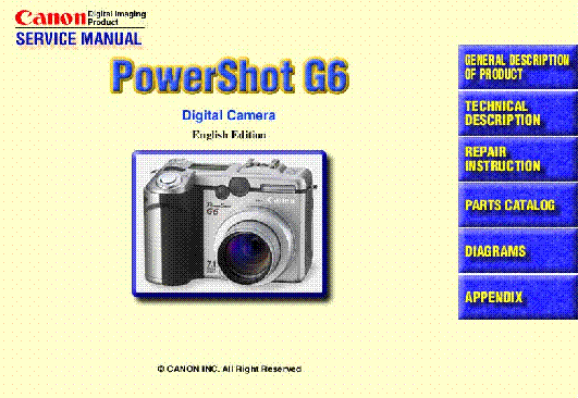 canon powershot g6 sm service manual download schematics eeprom rh elektrotanya com Canon PowerShot G6 Manual Canon PowerShot G7