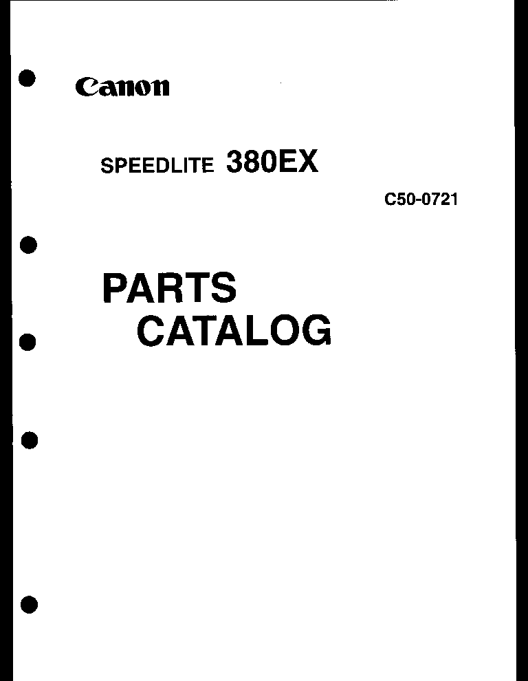 CANON SPEEDLITE 380EX PARTS service manual (2nd page)