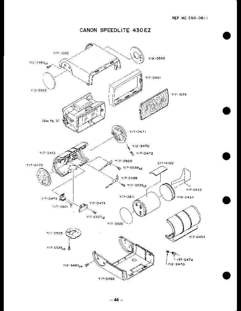 Canon Speedlite 430ez Parts Service Manual Download Schematics
