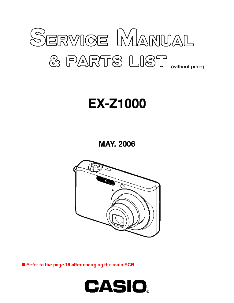 CASIO EX-Z1000-SM service manual (1st page)