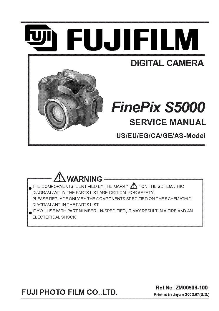 FUJI FINEPIX S5000 Service Manual download, schematics, eeprom