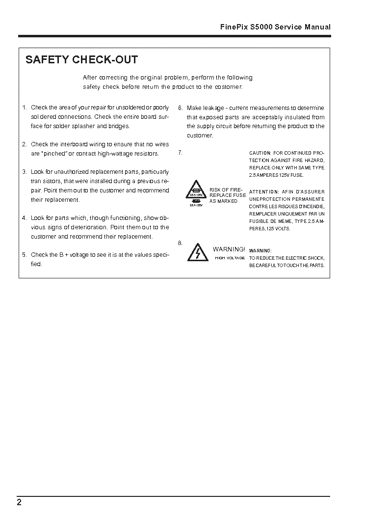 FUJI FINEPIX S5000 Service Manual download, schematics, eeprom