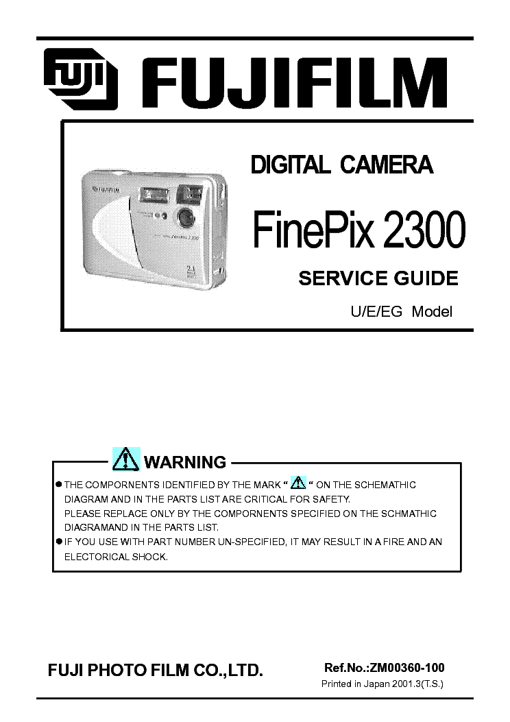 ... ! This picture is a preview of FUJIFILM FINEPIX 2300 SERVICE MANUAL