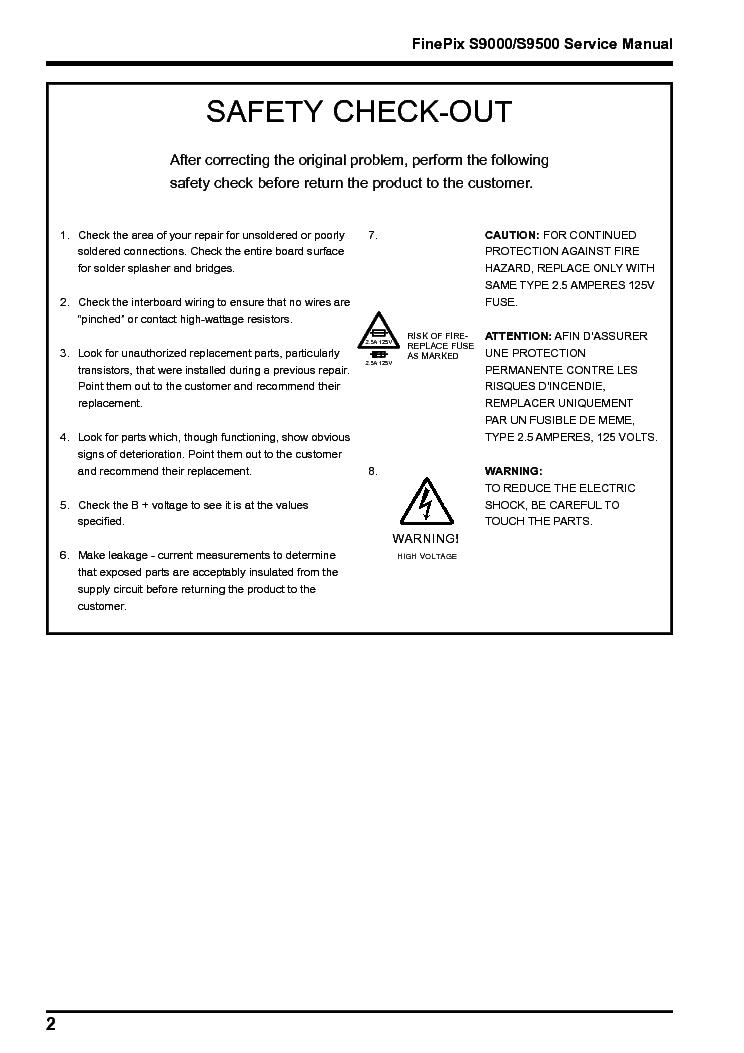 FUJIFILM FINEPIX S9000 S9500 SM Service Manual download, schematics
