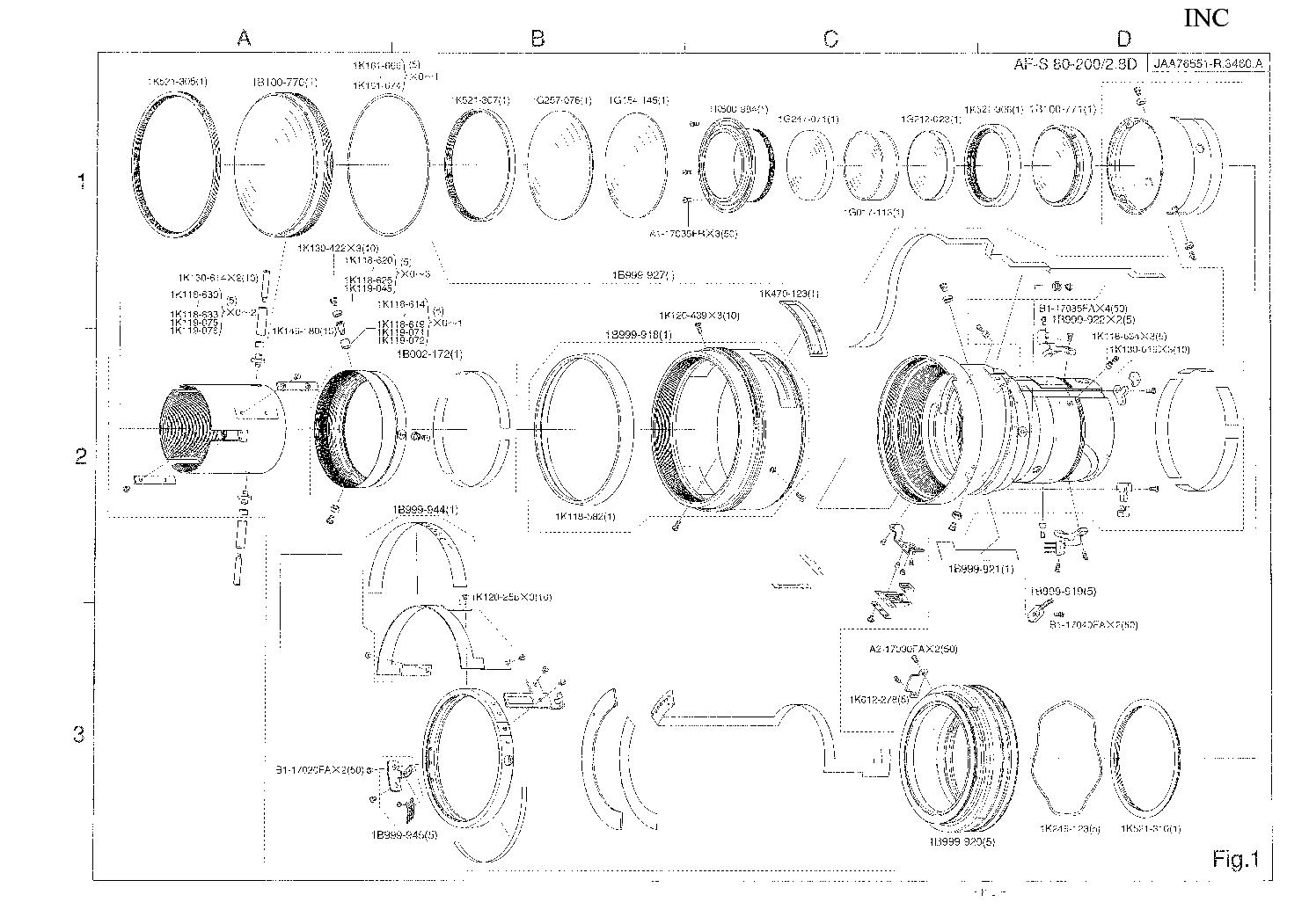 NIKON AF-S ZOOM NIKKOR 80-200MM F2 8D IF PARTS Service Manual