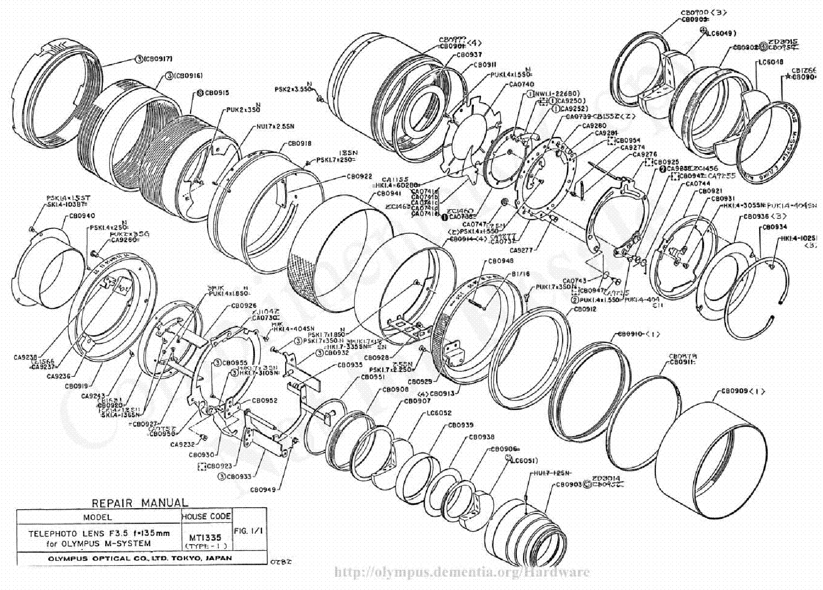 Olympus 135mm F3 5 Exploded Parts Diagram Service Manual