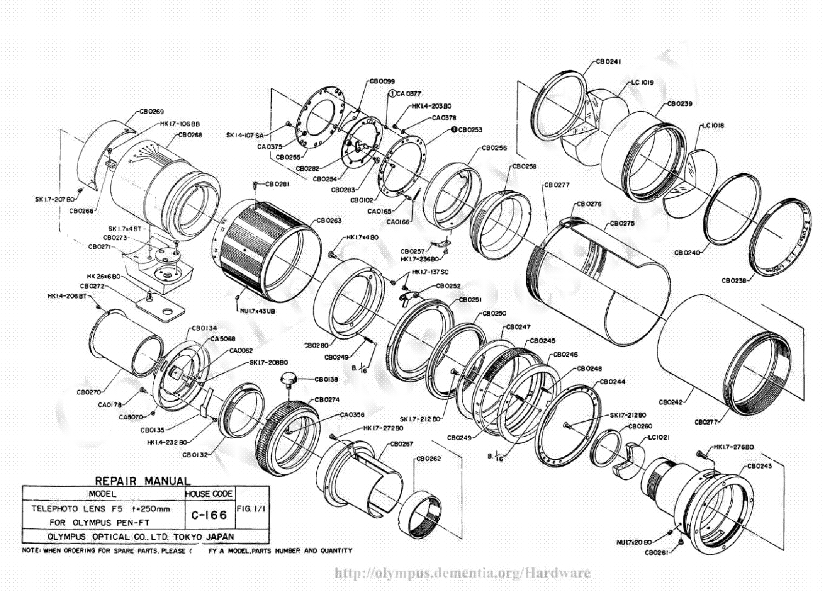 olympus 250mm f5 exploded parts diagram service manual download  schematics  eeprom  repair info