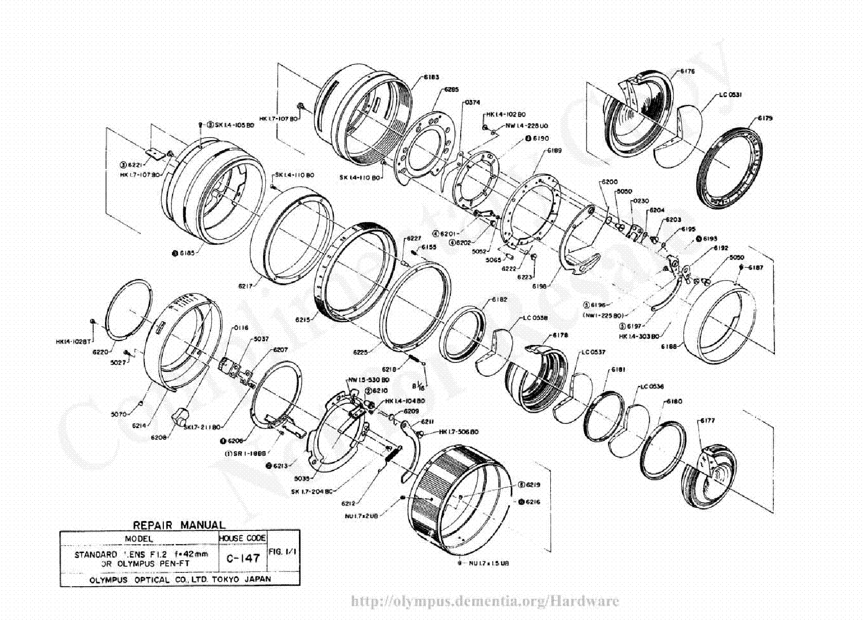 olympus 42mm f1 2 exploded parts diagram service manual download  schematics  eeprom  repair