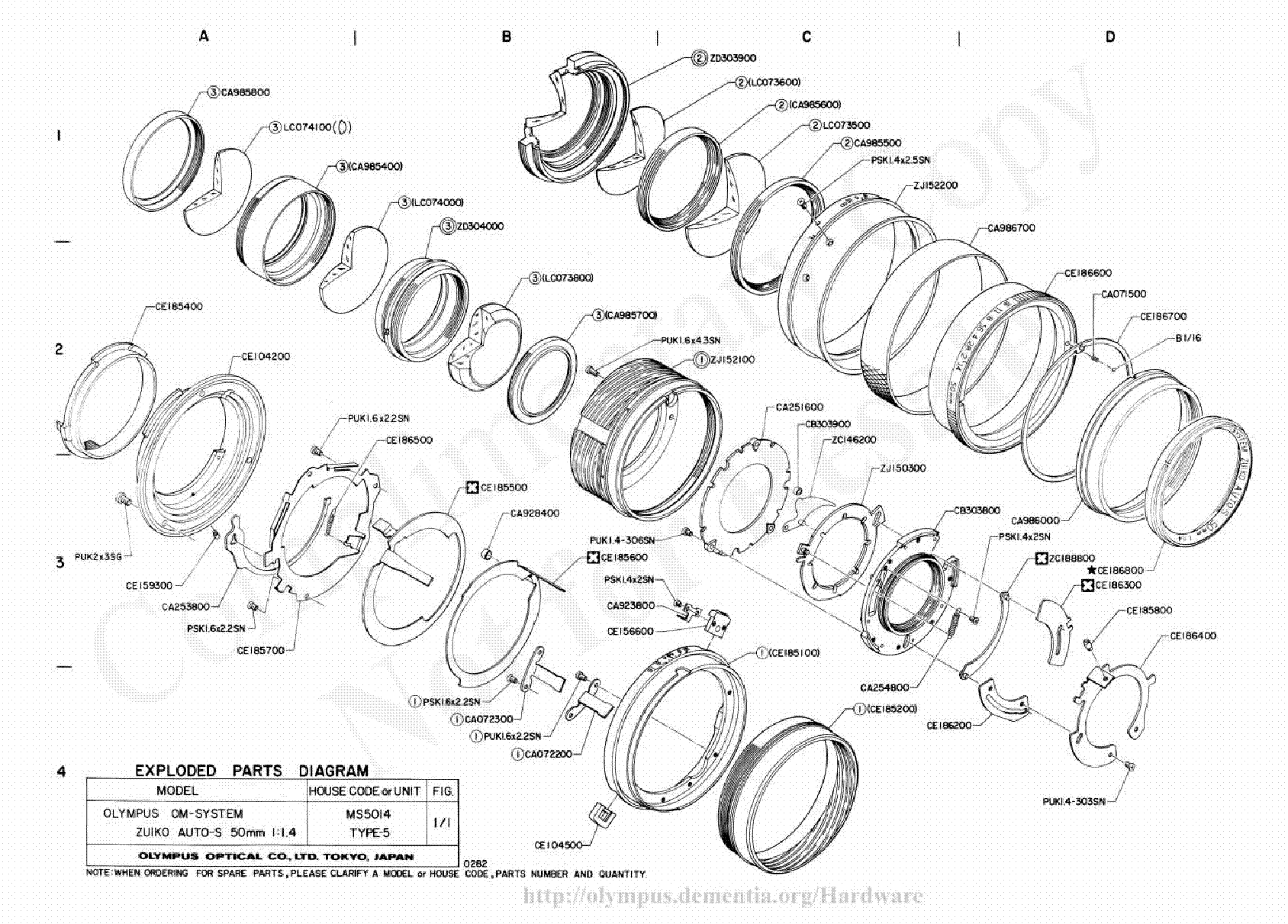 Camera Lens Parts Diagram 25 Wiring Images Where To Get For A Nikon D5000 Slr Olympus 50mm F14 Exploded Diagrampdf 1 35 105mm F3 5 4 Service