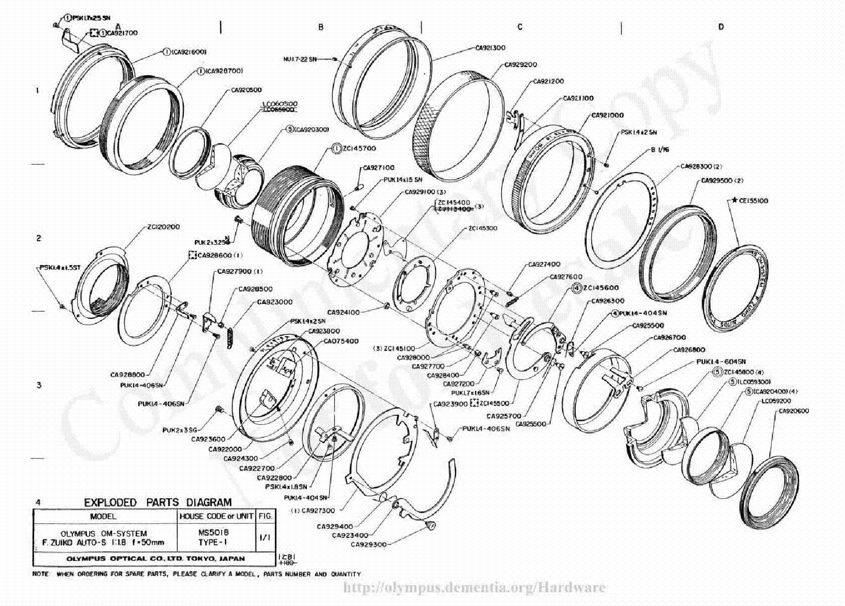 OLYMPUS 50MM F1.8 EXPLODED PARTS DIAGRAM service manual (1st page)