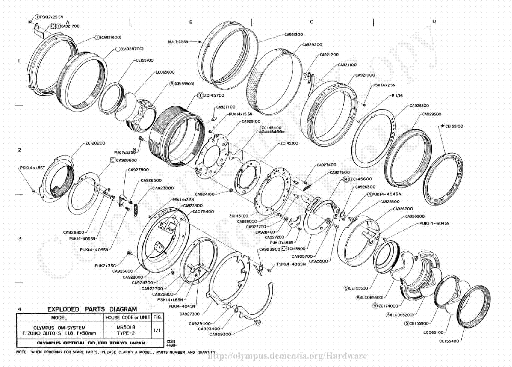 OLYMPUS 50MM F1.8 EXPLODED PARTS DIAGRAM service manual (2nd page)