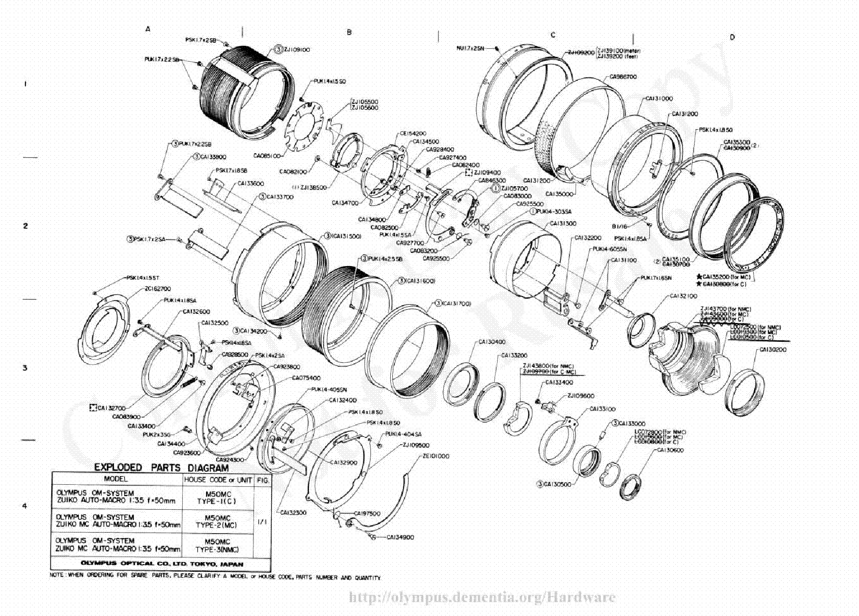 olympus 50mm f3 5 macro exploded parts diagram service
