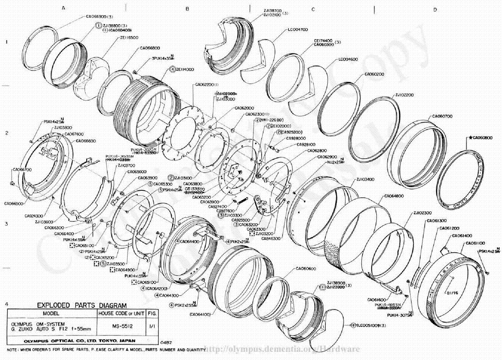 olympus 55mm f1 2 exploded parts diagram service manual download  schematics  eeprom  repair