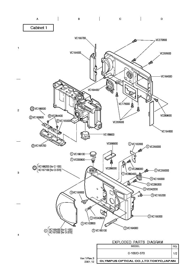 Olympus D370 Parts List Service Manual Download Schematics Eeprom