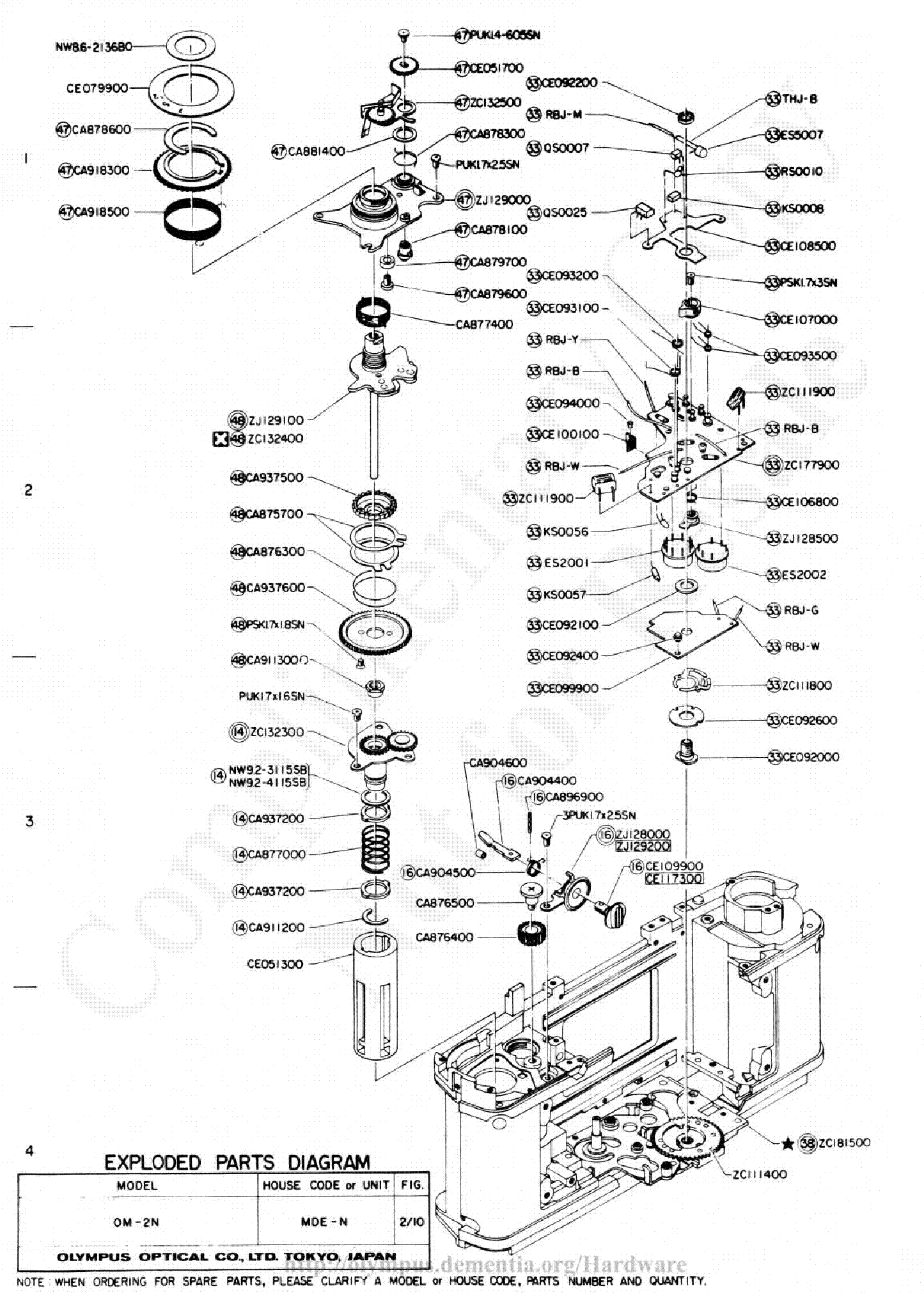 olympus om-2n exploded parts diagram service manual (2nd page)