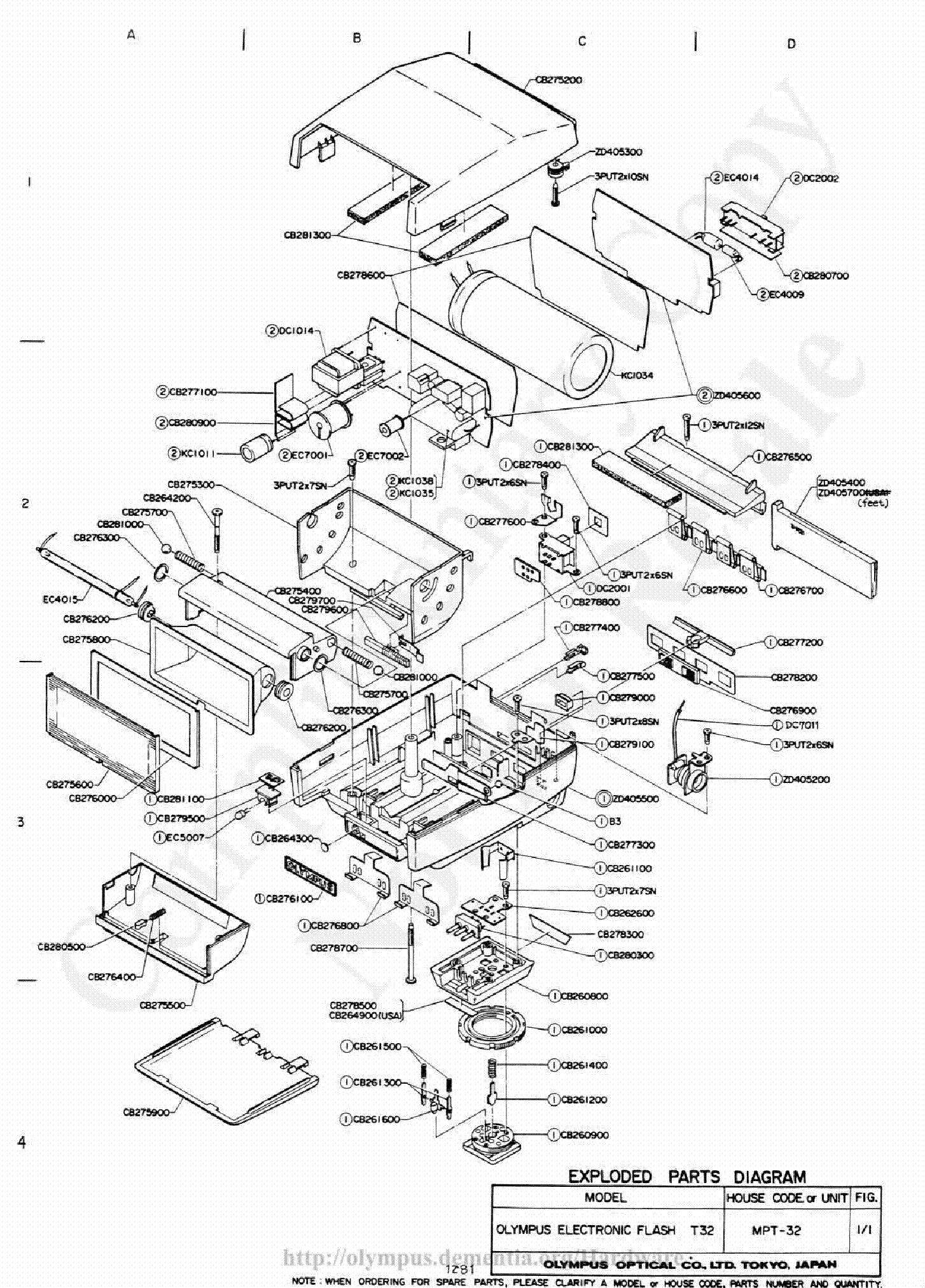 OLYMPUS T32 EXPLODED PARTS    DIAGRAM    Service Manual download     schematics     eeprom  repair info for