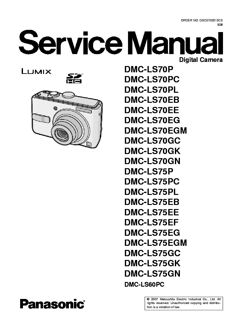 panasonic dmc ls70 ls75 service manual download schematics eeprom rh elektrotanya com Panasonic Manual Ra 6800 Panasonic Phones Manuals